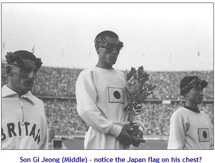 ▲ 손기정(가운데)은 일장기를 달고 올림픽 정상에 섰다. 은메달과 동메달을 딴 하퍼(왼쪽)와 남승룡(동메달) / Koreanclick.com 보도 캡쳐