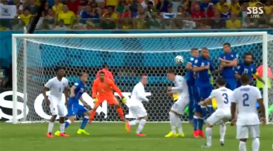 이탈리아가 피를로의 활약에 힘입어 2-1로 잉글랜드를 누르면서 월드컵 16강 진출에 청신호를 밝혔다. / SBS 영상 캡처