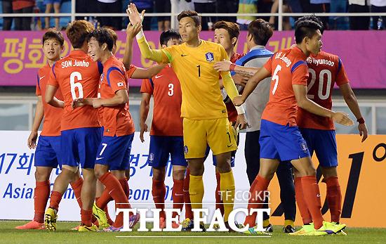 지난 17일 저녁 안산와스타디움에서 열린2014 인천 아시안게임 남자 축구 A조 한국과 사우디아라비아와의 경기가 한국의 1:0 승리했다. / 사진=임영무 기자