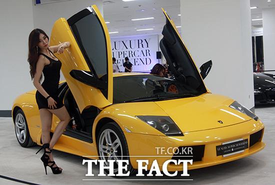 27일 경기 성남시 분당구 야탑동 테마폴리스에서 열린 럭셔리 슈퍼카 위켄드(LSW KOREA)에서 슈퍼카&레이싱모델이 자태를 뽐내고 있다./사진제공=벨로체 미디어