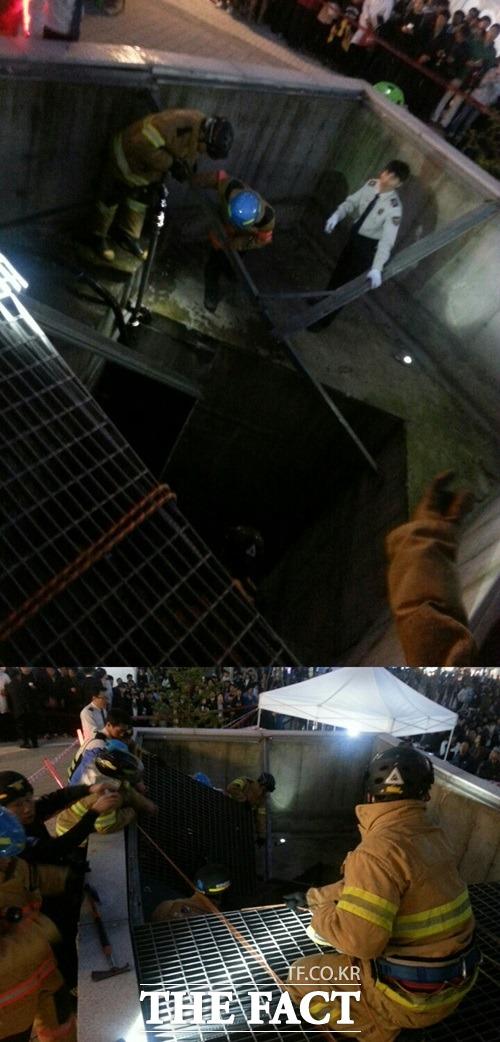17일 오후 경기도 성남시 분당구에 있는 판교 테크노밸리에서 열린 제1회 판교테크노밸리축제에서 포미닛 공연을 보던 관객들이 추락 사고를 당해 구조대가 출동했다. /박소영 기자