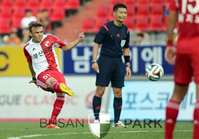부산이 8일 열린 현대오일뱅크 K리그 클래식 2014 35라운드 인천과 경기에서 주세종의 결승골을 앞세워 1-0으로 승리했다. / 부산 아이파크 홈페이지 캡처