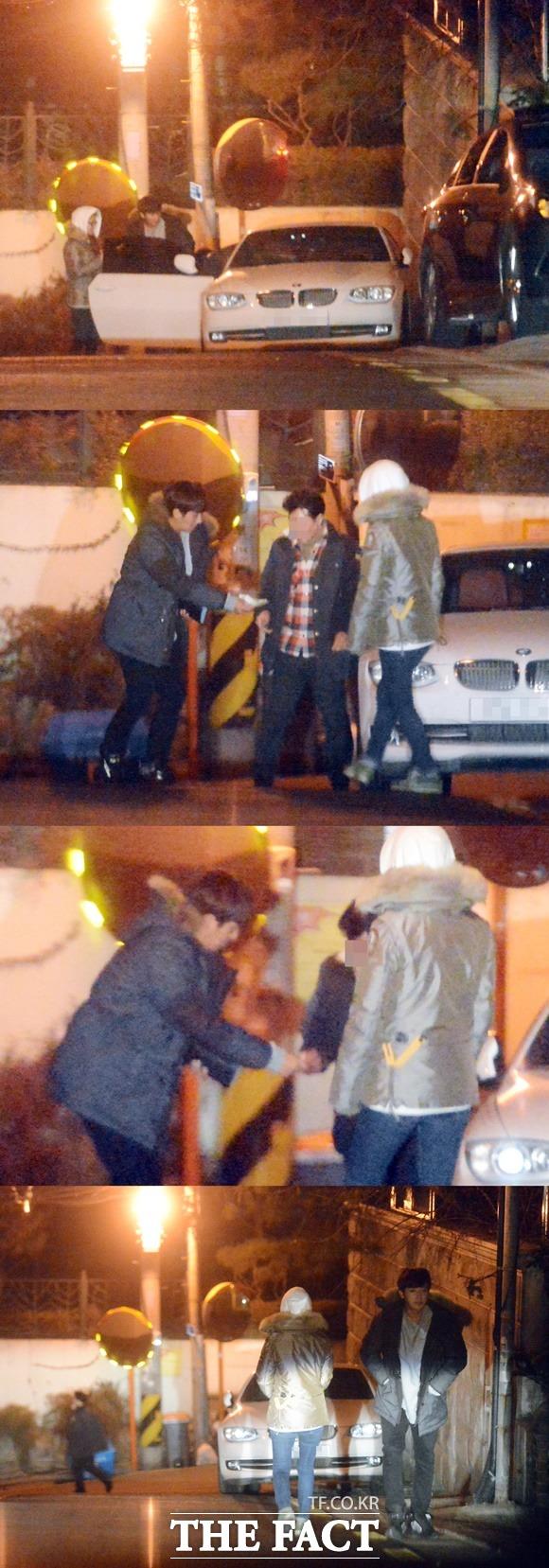 기사님 안전 운전 감사합니다 손호준과 김소은(오른쪽)이 대리 기사에게 정중히 인사한 뒤 발걸음을 옮기고 있다. /배정한 기자