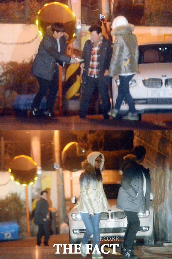 손호준의 집 앞에서. 술을 마신 손호준과 김소은은 대리 운전 기사의 도움으로 청담동 집 앞까지 이동한 뒤 새벽 2시 손호준의 집으로 들어가고 있다. /최진석 기자