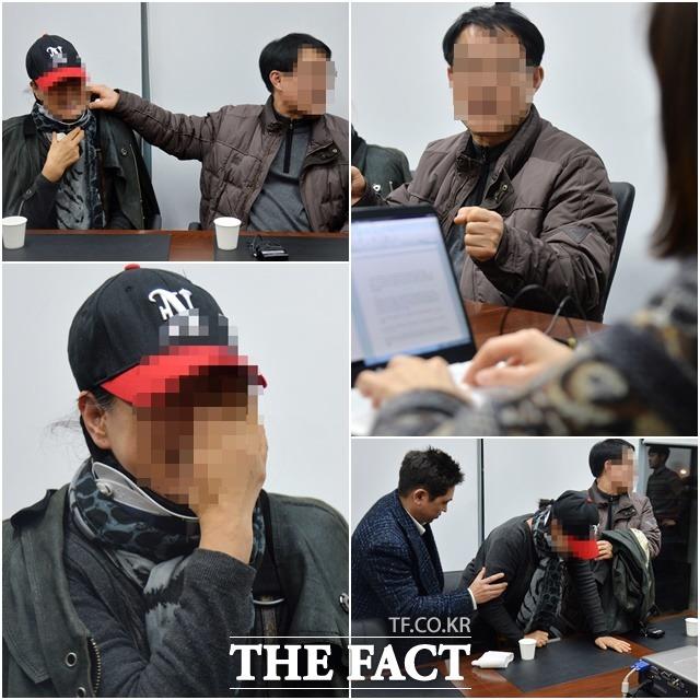 언론 플레이 말고 이젠 양측이 사적으로 해결하길  김현중의 부모가 <더팩트>와 인터뷰에서 아들과 최 씨의 이야기를 꺼내며 눈물을 흘리고 있다. /문병희 기자