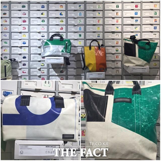 값비싼 에코백 버려진 트럭 방수포로 만든 F브랜드 가방은 세상에서 단 하나뿐이라는 이유만으로 30만 원 정도의 고가에 판매되고 있다. / 명동=서민지 인턴기자