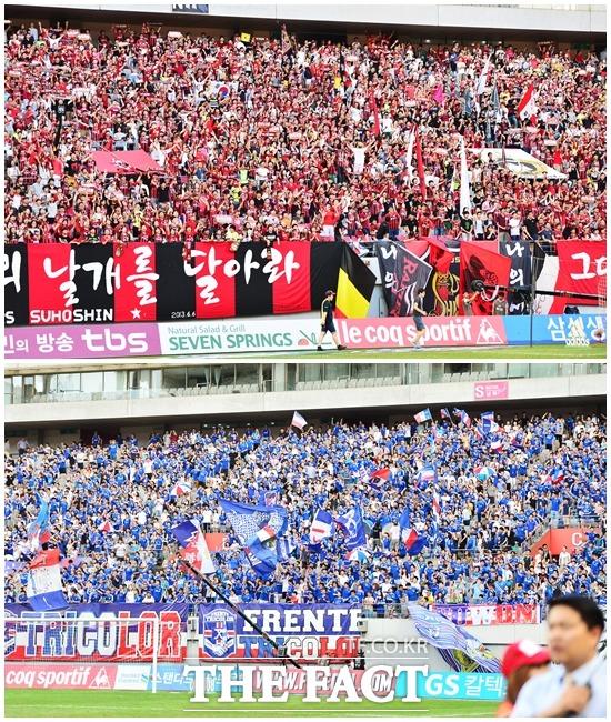 이것이 바로 더비! 서울과 수원의 슈퍼 매치는 항상 많은 관중이 경기장을 찾는다. / 배정한 기자