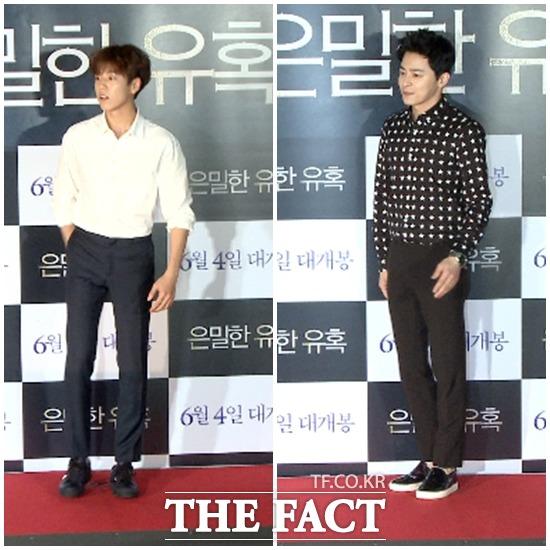 배우 이현우(왼쪽), 조정석이 28일 오후 서울 영등포구 CGV 영등포에서 열린 영화 은밀한 유혹 VIP 시사회에 참석해 포즈를 취하고 있다. /해당 영상 갈무리