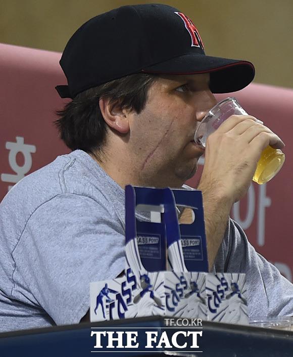맥주 마시는 리퍼트 대사 야구장서는 치맥이 최고지