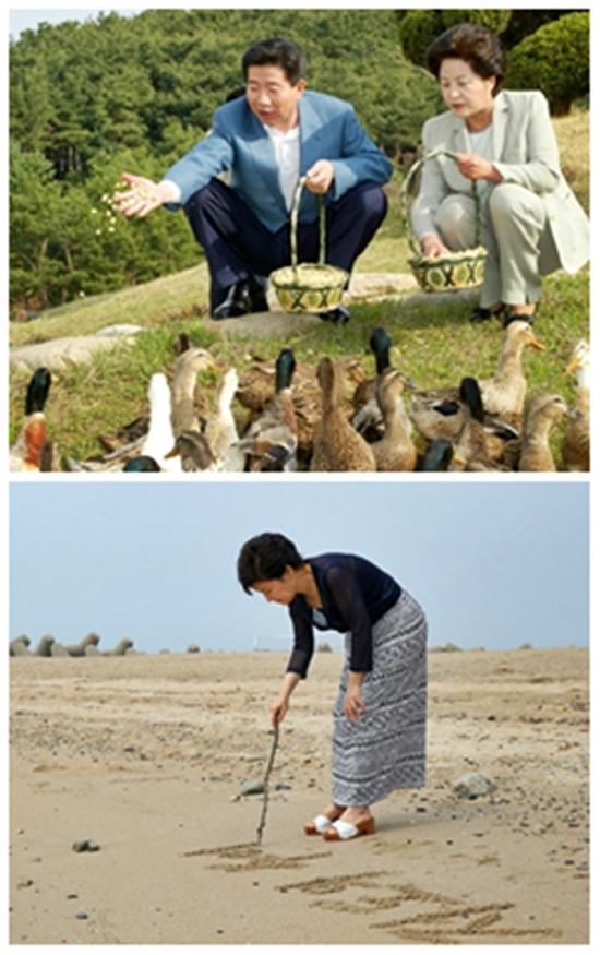 관저에서 밀린 일을… 노무현(위 왼쪽) 전 대통령은 2003년 재임 기간 중 유일한 여름휴가를 권양숙(위 오른쪽) 여사와 함께 청남대에서 보냈다. 박근혜 대통령은 첫 여름휴가를 저도에서 보냈다./대통령기록실 제공, 박근혜 대통령 페이스북