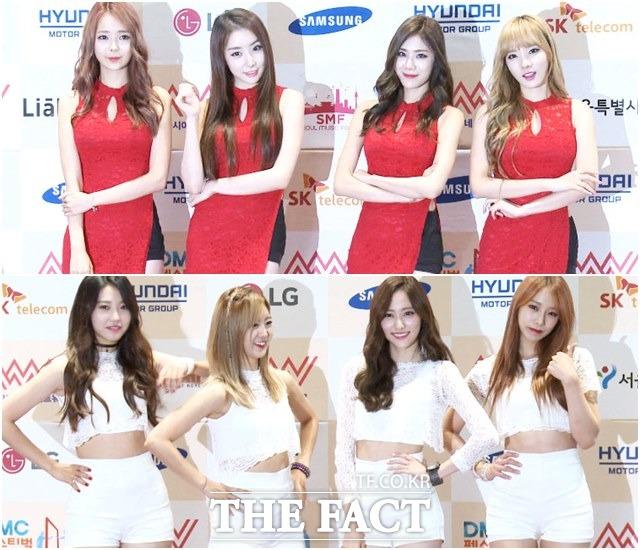 걸그룹 스텔라(위)와 베스티가 11일 오후 서울 마포구 상암MBC 로비에서 진행된 2015 DMC 페스티벌-아시아 뮤직 네트워크 포토콜에 참석해 포즈를 취하고 있다./해당 영상 갈무리