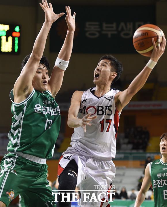 울산 전준범이 원주 김봉수의 밀착마크를 뿌리치고 슛을 시도하고 있다.