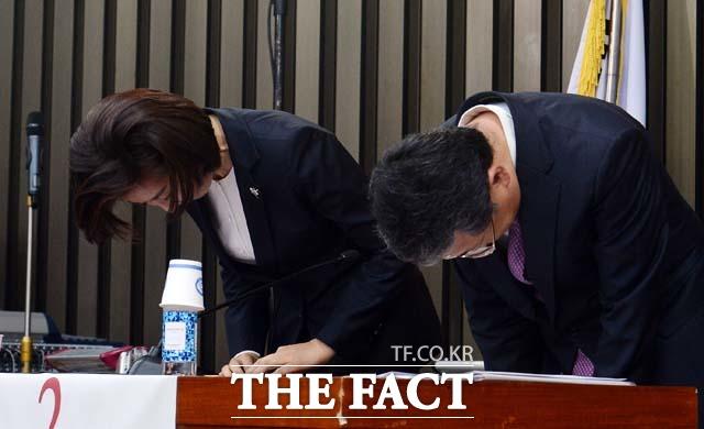 2번 나경원 원내대표 후보 김재경 정책위의장 후보