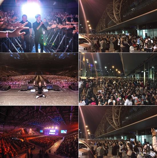송중기 인기가 이정도지 말입니다. 배우 송중기가 태국에서 팬미팅을 열고 4000여 팬과 일일이 악수를 하는 팬서비스를 보였다. /블러썸엔터테인먼트 제공