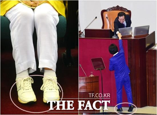추미애 더민주 대표는 지난 8월 27일 전대 당시 흰색 운동화(왼쪽)를 신었고, 당 대표에 오른 뒤 지난 5일 국회 첫 교섭단체 대표연설 당시 검은색 운동화를 신었다./배정한 기자