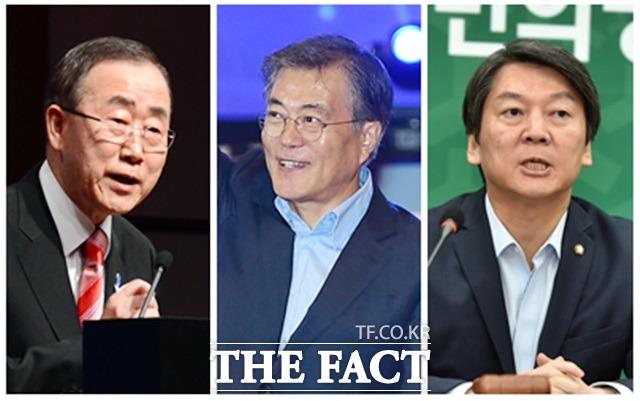 반기문(맨 왼쪽) 유엔 사무총장이 내년 1월 중순께 조귀 귀국하겠단 의사를 밝히면서 문재인(왼쪽 두 번째) 전 더불어민주당 대표·안철수 전 국민의당 상임공동 대표 등 유력 대선 주자들의 행보가 빨라지고 있다./더팩트DB