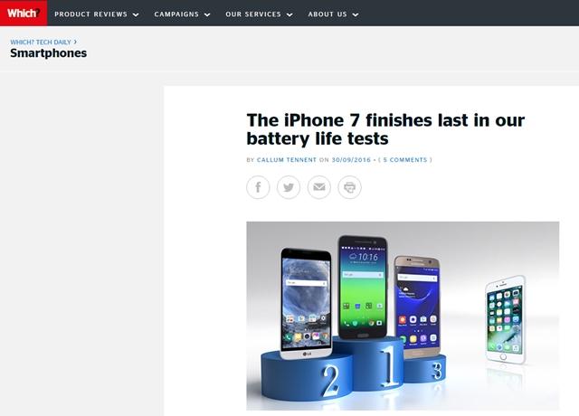 영국 소비자 연맹지 위치가 지난달 30일(현지 시각) 발표한 배터리 수명 테스트 결과에 따르면 아이폰7이 가장 저조한 것으로 나타났다. /위치 홈페이지 캡처