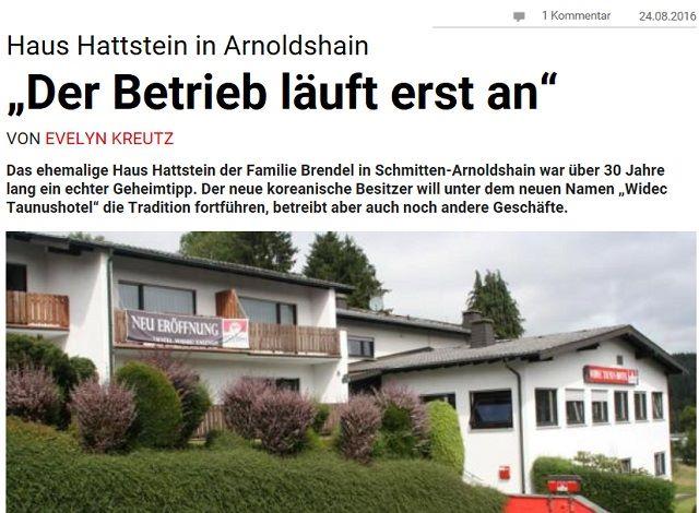 슈미텐 지역신문은 비덱 타우누스 호텔 재개장과 비덱이라는 회사에 관해 개장 두 달 후인 지난 8월 24일 호텔과 관련한 종합적인 내용을 보도했다. /독일 프랑크푸르트 슈미텐 지역지 누리집 갈무리