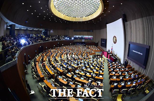 박근혜 대통령 탄핵소추안이 재석의원 299명 중 찬성 234 명, 반대 56 명, 기권 2명, 무효 7명으로 가결되고 있다.