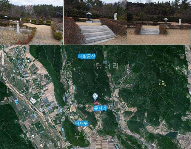 담철곤 오리온 회장의 부모 묘지 터는 대밭골산 남쪽 끝자리에 자리 잡고 있으며, 남서쪽에는 딱재못이라는 작은 저수지가 있다. /이성로 기자, 다음 스카이뷰 캡처
