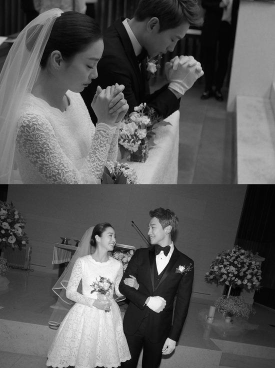배우 김태희(위 왼쪽)와 가수 비가 웨딩마치를 울렸다. /레인컴퍼니 제공