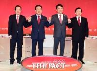 [TF포토] 손맞잡은 자유한국당 대선 후보자들..'한번 겨뤄봅시다!'