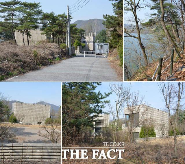 오리온 양평 연수원 2동은 두 개의 건물과 주차장이 마련돼 있으며 외곽은 남한강과 맞닿아 있다. 직원들의 연수를 위해 주위 시세보다 5배가 넘는 돈을 들여 매입했다는 부분은 의구심을 자아낸다. /양평=장병문 기자
