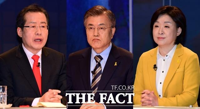 홍준표 자유한국당 대선후보(왼쪽)과 심상정 정의당 후보(오른쪽)는 문재인 더불어민주당 후보에 노동에 대한 공약을 지적하고 관련 내용을 질문했다. /국회사진취재단