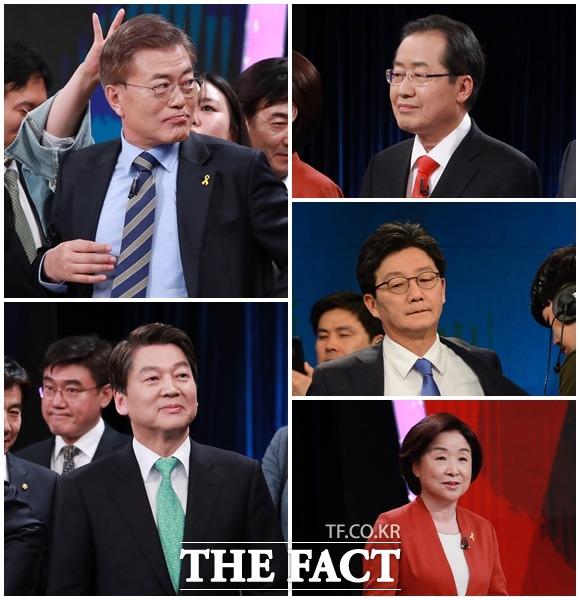 대선TV토론 후보간 성적표는? 19일 KBS 주최 대선TV토론이 열린 가운데 정치평론가들은 문재인 주적 등 논란을 빚은 문재인 더불어민주당 후보에 대해 가장 낮은 평가를 했다. /공동취재단