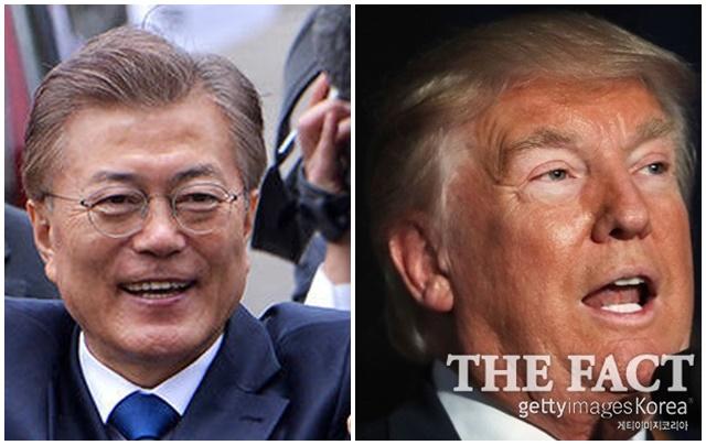 최근 사드 배치 지연 논란 등 악재를 겪는 문재인(왼쪽) 대통령은 오는 29일 미국 워싱턴에서 트럼프 대통령과 첫 정상회담을 갖는다./배정한 기자, 게티이미지 제공