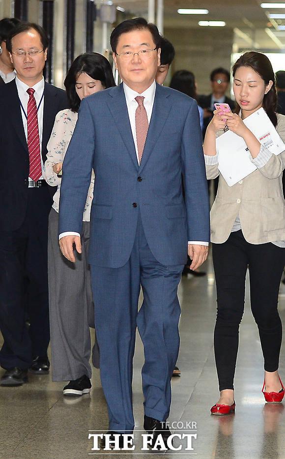 정의용 국가안보실장이 지난달 22일 오후 서울 여의도 국회를 찾아 야당 지도부를 예방하고 있다./이새롬 기자