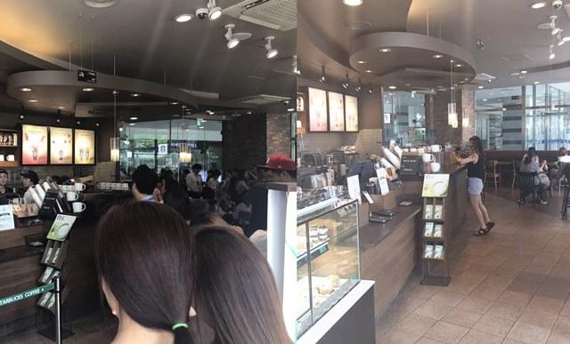 스타벅스 해피아워 행사가 진행 중인 20일 오후 3시(왼쪽) 스타벅스 매장에 긴 줄이 늘어선 반면 이벤트 전인 오후 1시에는 한산한 모습이다. /백윤호 인턴기자