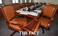 [TF포토] 추경 논의 막바지, '여전히 텅빈 소위 회의실'