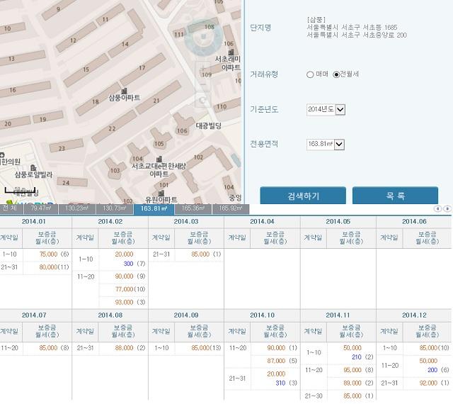 서울 서초구 서초동 삼풍아파트 62평형의 2014년 11월 실거래가는 보증금 5억 원에 월세 210만 원이다. / 국토교통부 실거래가 공개시스템 갈무리