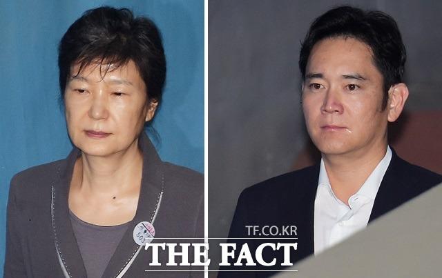 이재용 부회장(오른쪽)은 박근혜 전 대통령으로 정유라 지원에 관한 어떠한 얘기도 들은 적 없고, 대통령에게 그룹 경영과 관련된 그 어떤 것도 부탁하지도 않았다라고 진술했다.
