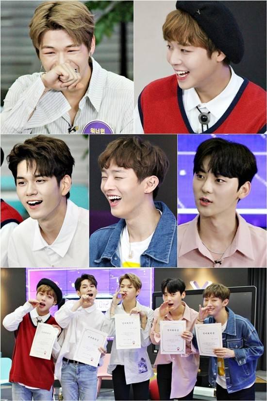 '해피투게더3' 스틸. 프로젝트 그룹 워너원 5인은 10일 오후 11시 10일 방송되는 KBS2 예능 프로그램 '해피투게더3'에 출연, 조동아리와 호흡을 맞춘다. /KBS 제공