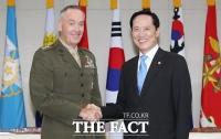 [TF포토] 송영무 국방부 장관, 던퍼드 미 합참의장 접견