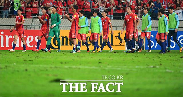 0-0 무승부 후 엉망이 된 그라운드를 걷고 있는 한국 선수들.