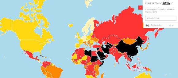 국경없는 기자회(RSF)에서 매년 발표하는 세계언론자유지수(Worldwide Press Freedom Index)에서 한국은 2016년 70위를 차지했다. 각국 언론 자유도가 지도에 다른 색으로 표시돼있다./국경없는 기자회