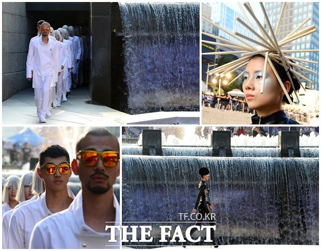 서울 365 패션쇼가 9일 오후 서울 종로구 청계천 일대에서 열린 가운데 모델들이 이색 헤어스타일을 선보이며 워킹을 하고 있다./남용희 기자
