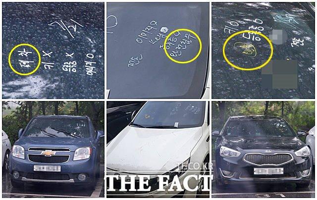 폐차·완전침수·완침 침수차 앞 유리창에 차량별 특징이 적혀 있다. 왼쪽 올란도는 '폐차', 흰색 K5와 검정색 K7에는 각각 '완전침수', '완침'이 적혀 있다. 3대 모두 폐차돼야 할 차량들이다.