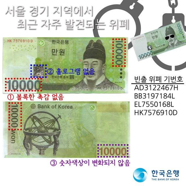 한국은행은 추석 연휴를 맞아 위조지폐 사용 가능성이 큰 만큼 주의를 당부했다. /한국은행 페이스북