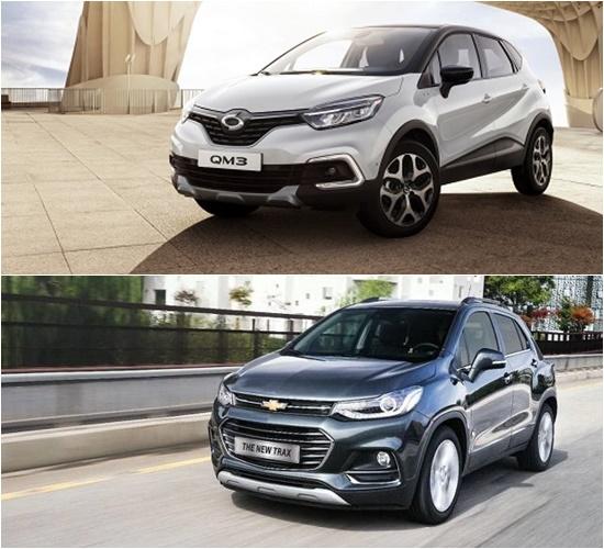 과거 국내 소형 SUV 시장을 이끌었던 QM3와 트랙스는 신진 세력(코나, 티볼리, 스토틱)에 밀리며 고전을 면치 못하고 있다. /르노삼성자동차, 한국지엠 제공