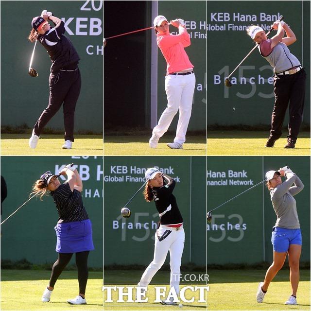 2017 미국여자프로골트(LPGA) 투어 KEB하나은행 챔피언십에서 선두권을 유지하고 있는 엔젤 인, 카를로타 시간다, 브룩 헨더슨, 마리나 알렉스, 이민지, 리젯 살라스(왼쪽 위부터 시계방향으로)가 1번 홀에서 힘찬 티업을 하고 있다.
