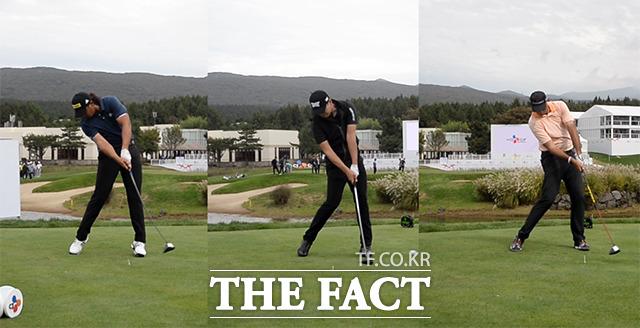 PGA투어 공식 정규대회인 '더 CJ컵@나인브릿지'가 제주도 서귀포시에서 열릴 예정인 가운데 17일 대회장소인 나인브릿지 골프클럽에서 선수들이 스윙을 하며 몸을 풀고 있다. /해당 영상 갈무리