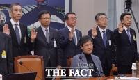 [TF포토] 국감 증인 출석한 굴지의 건설사 대표들