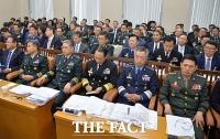 [TF포토] 국방위 국감 출석한 육해공 참모총장들