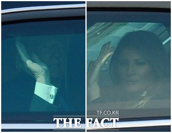 도널드 트럼프 미국 대통령의 차량 행렬이 8일 오전 서울 동작구 국립서울현충원으로 향하고 있는 가운데 트럼프 내외가 취재진을 향해 손을 흔들고 있다./남용희 기자