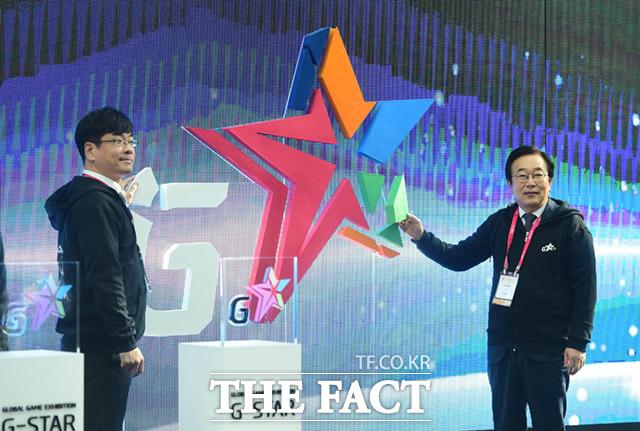 강신철 지스타조직위원회 조직위원장(왼쪽)과 서병수 부산시장