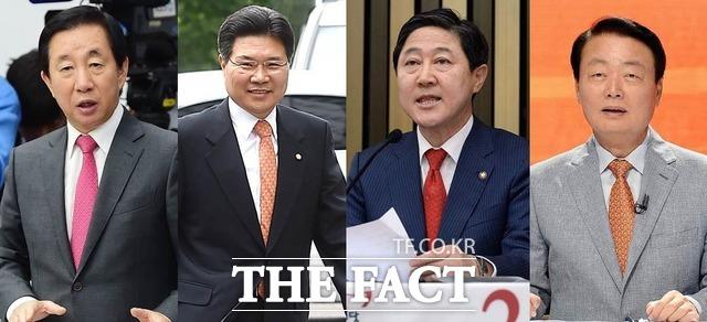한국당 원내대표 경선 후보인 김성태·홍문종·유기준·한선교 의원(왼쪽부터)./더팩트DB